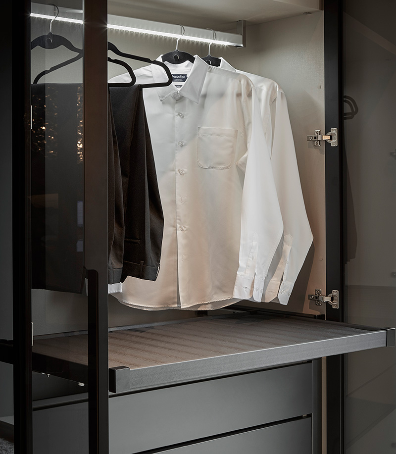 Closet Custom Storage with Lighting and Drawers